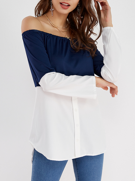 Navy & White Off Shoulder Long Sleeves T-shirt