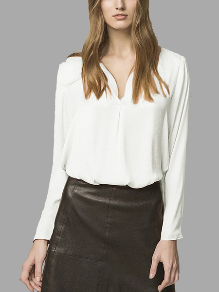 V-neck High Low Hem Blouse in White