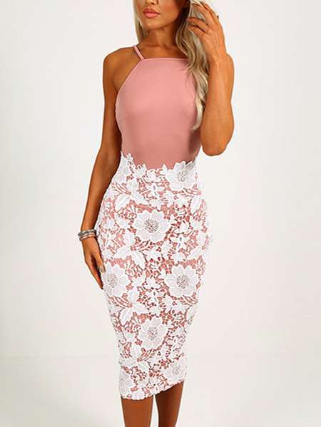 Pink Lace Halter Backless Bodycon Midi Dresses