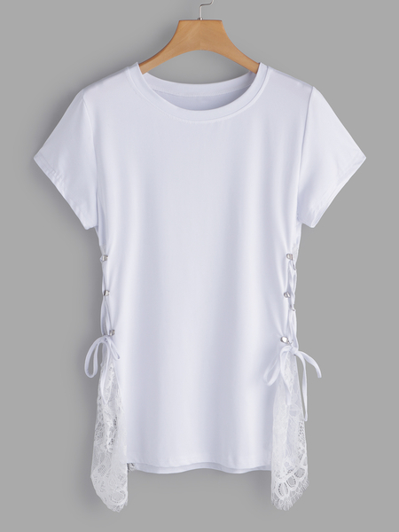 White Lace Details Crew Neck Lace Up Details Short Sleeves T-shirt