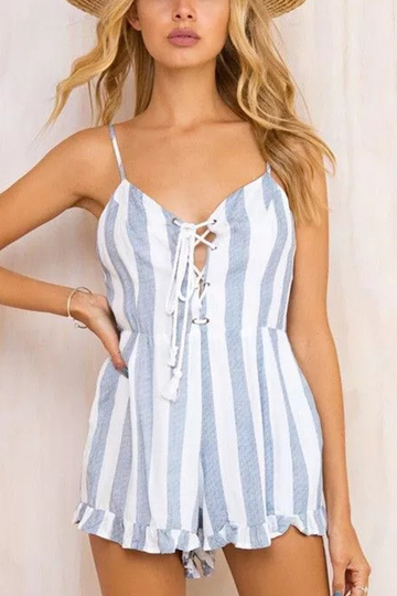 Stripe Pattern Tie Front Sleeveless Playsuit With Cami Strap