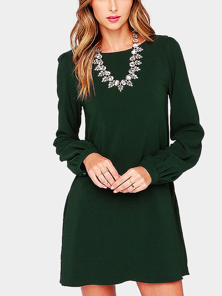 Fashion Plain Green Color Mini Dress with Button Closure