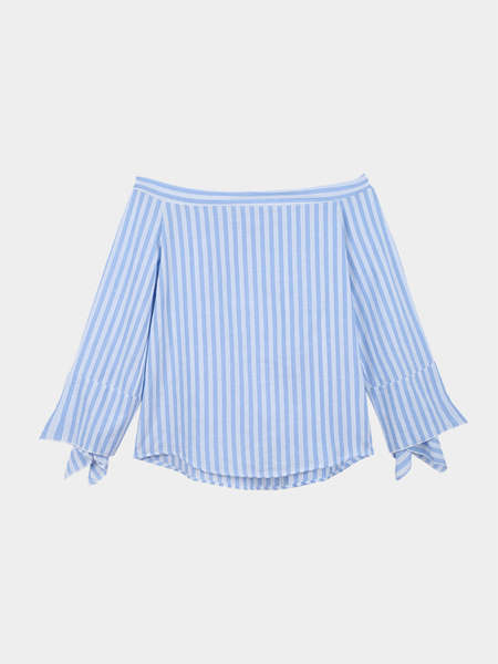 Blue Off Shoulder Stripe Pattern Blouse with Long Sleeves