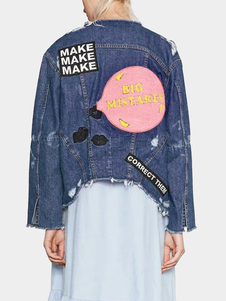 Blue Fashion Letter Pattern Ripped Denim Coat