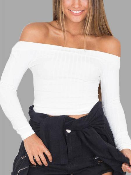 White Sexy Off-shoulder Ribbed Body-con Top
