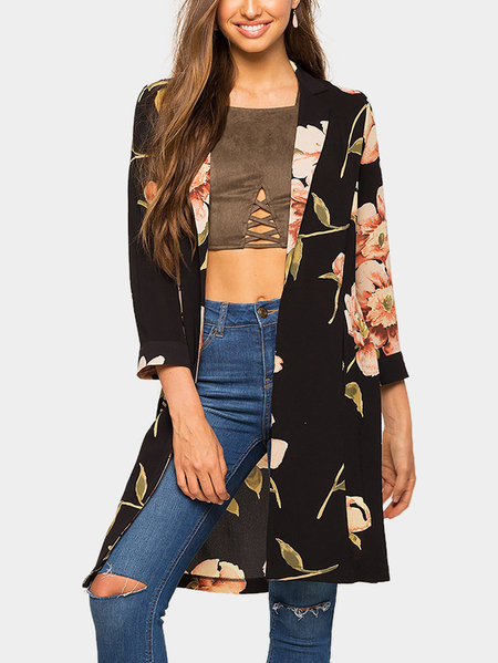 Black Floral Print 3/4 Length Sleeves Long Coat