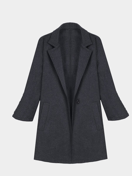 Dark Grey Lapel Collar Side Pocket Duster Coat