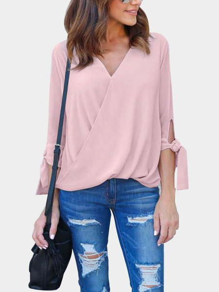 Pink Casual Deep V-neck Surplice Drape Top