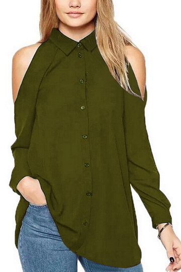 Army Green Cold Shoulder Shirt Blouses