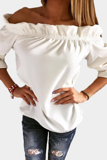 White Pleated Off Shoulder T-shirt