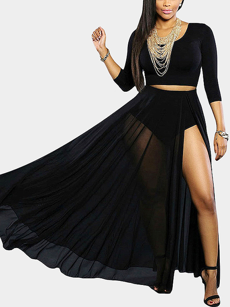 Black See Through Sexy Splited High Waist Skirt