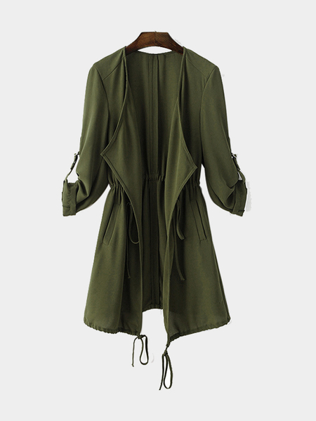 Army Green Chiffon Trench Coat mit Tunnelzug Taille