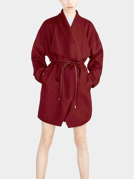 Bourgogne Drape Wrap Coat with Belt