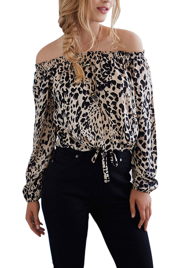 Off Shoulder Top in Leopard Print