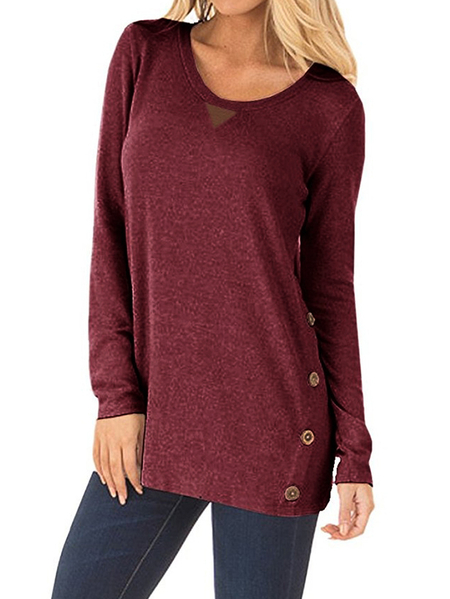 Burgundy Button Details Plain Round Neck Long Sleeves T-shirt