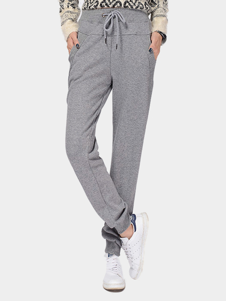 Light Grey Plus Velvet Elastic Waist Casual Trousers