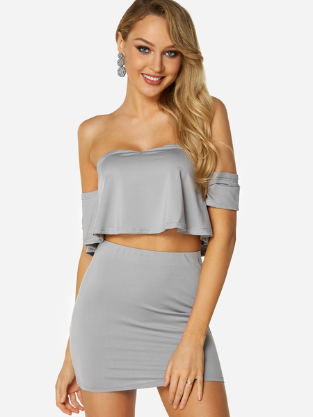 Grey Off The Shoulder Half Sleeves High-waisted Two Piece Outfits