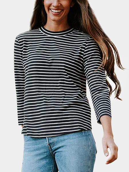 Black Cut Out Stripe Crew Neck Long Sleeves T-shirts