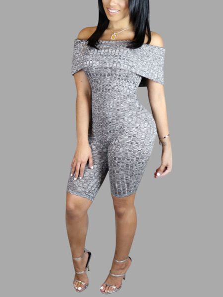 Gray Sexy Off-shoulder Bodycon Jumpsuit