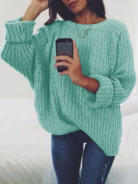 Army Green Oversize Knit Crew Neck Sweater