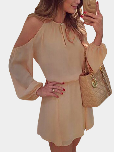 Beige Cold Shoulder Long Sleeves Chiffon Dress with Open Back Design