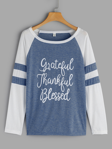 Blue Letter Round Neck Long Sleeves T-shirts