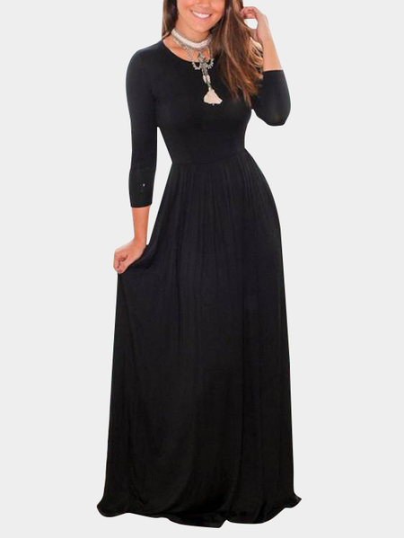 Black A Line Bodycon Fit Round Neck Long Sleeves Tight Waist Party Dresses