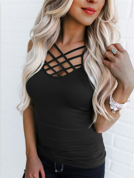 Black Criss Cross Cami Top