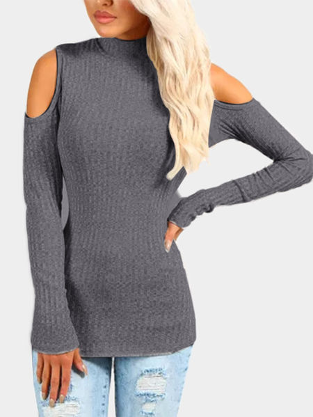 Dark Grey Ribbed Cold Shoulder Jumper