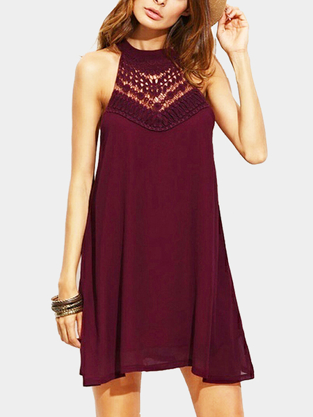 Burgundy Halter Hollow Out Mini Length Dress