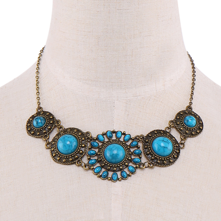 Blue Stone Carved Necklace