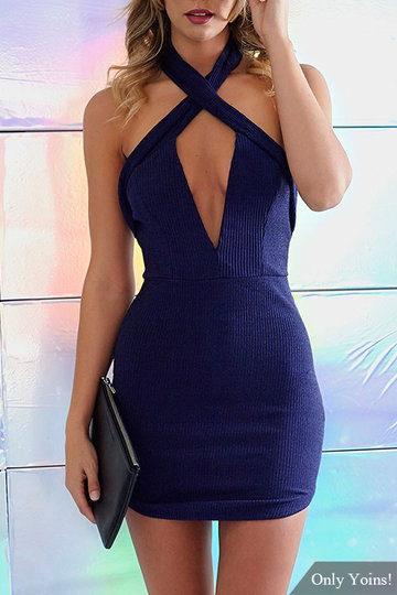 Plunge Halter Cross Front Backless Mini Dress