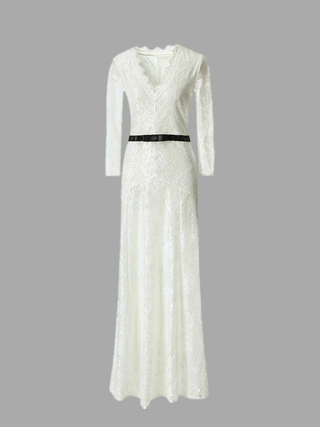 White Maxi Dress With Eyelash Lace Trim