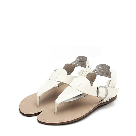 White Retro Leather Look Buckle Flat Thong Sandals