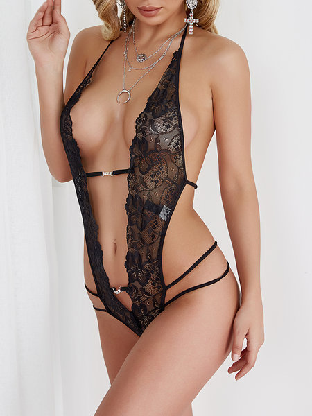 Черный Sexy Sheer Lace Self-Tie Backless Hollow Halter Teddy