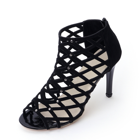 Sexy Peep Toe Hollow Design Sandals em preto