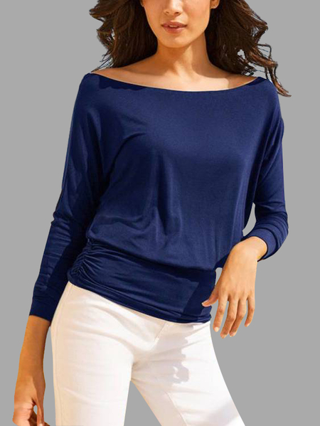 Navy Bateau Bodycon Hem Basic T-shirts