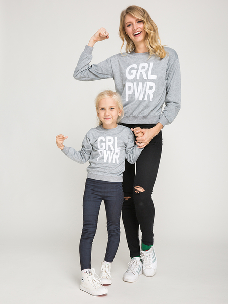 Mommy and Me GRL PWR Letter Print Raglan Sleeve Matching T-shirts in Grey