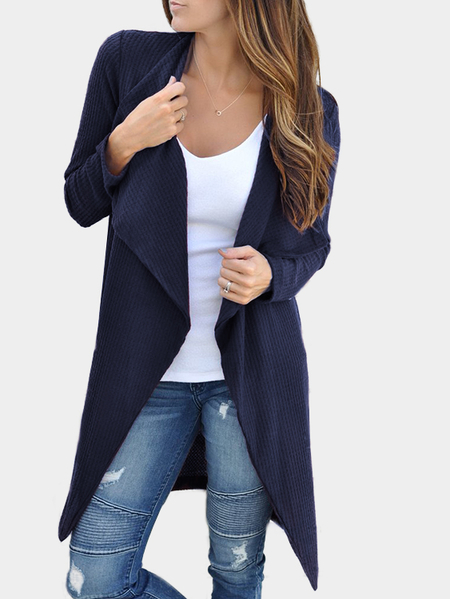 Navy Open Front Fold-over Collar Long Sleeves Cardigan
