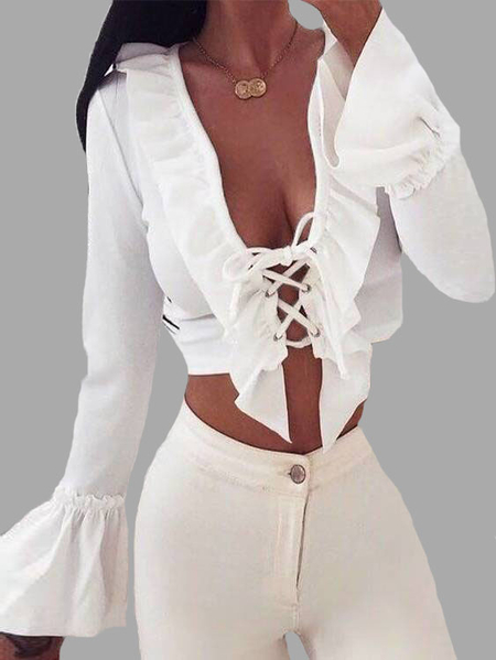White Deep V-neck Lace-up Pleated Top