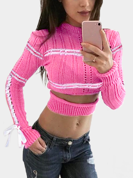 Rose Cut Out manches longues moulantes Pulls Crop