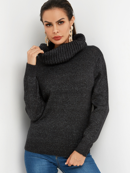 Black Turtleneck Long Sleeves Loose Fit Sweaters