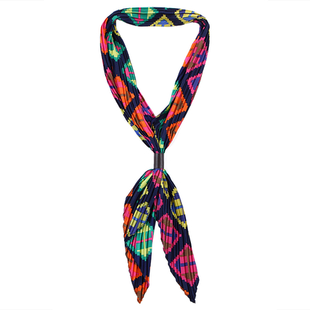 Dumbbell Pattern Pleated Lightweight Scarf in Multicolor