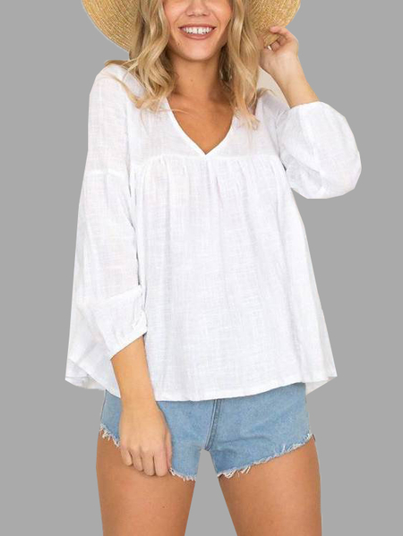 Whire V neck Button Back Flounced Hem Reversible Top