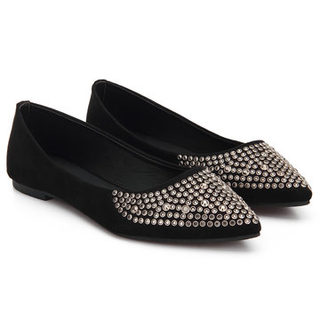 Black Diamond-studded Suede Flat Shoes