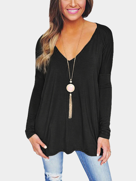 Black Causal V-neck Long Sleeves T-shirt