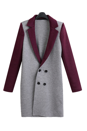 Plus Size Double Breasted Longline Coat with Label Collar