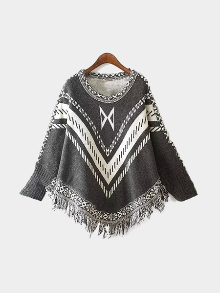 Bat Sleeves Cape Loose Jumper with Tassel Design