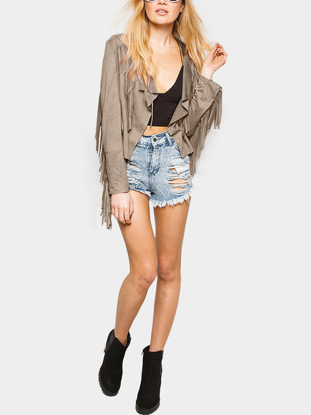 Light Camel Suede Fringe Jacket