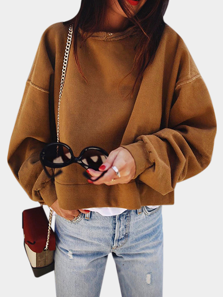 Brown Round Neck Bat Sleeves Sweatshirts